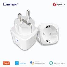 Tuya zigbee 3.0 smart power plug 16a wireless app controle remoto de voz tomada de monitor de energia funciona com alexa google home
