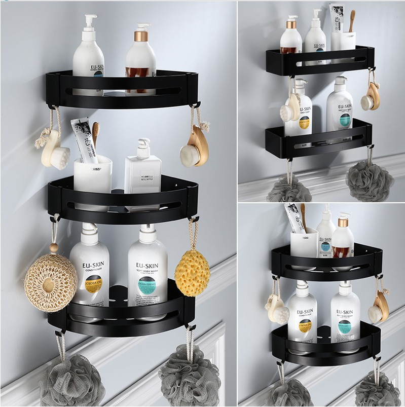 Punch-free Bathroom Tripod Bathroom Organizer  Wall Hanging Toilet Tripod Bathroom Bathroom Corner Basket Black