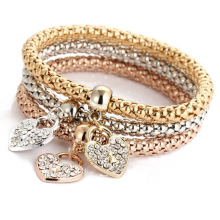 3pcs/Set gold multi-layer crystal bracelet women girls rose flower style pattern chain Bangle lady charm jewelry