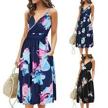 Robe d'été Style Boho pour femmes, sans manches, à bretelles, col en v, à bandes, robe de plage, de fête, robe2021