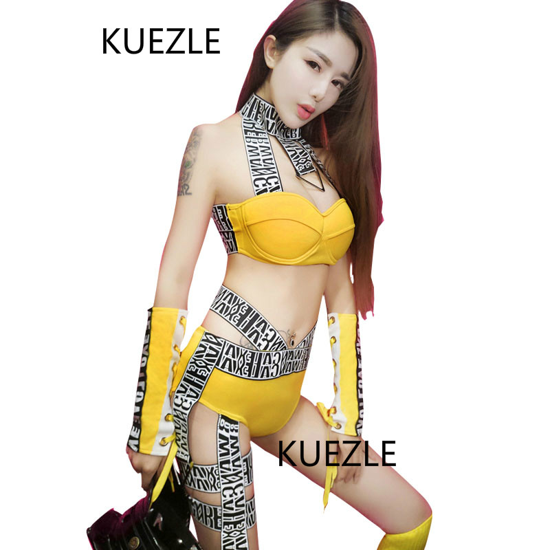 Collar Dance Yellow Women Stage Dance Show Costumes Outfit Ds Costume Dj Female Singer Sexy Bandage Hip Hop Jazz Dance Costume