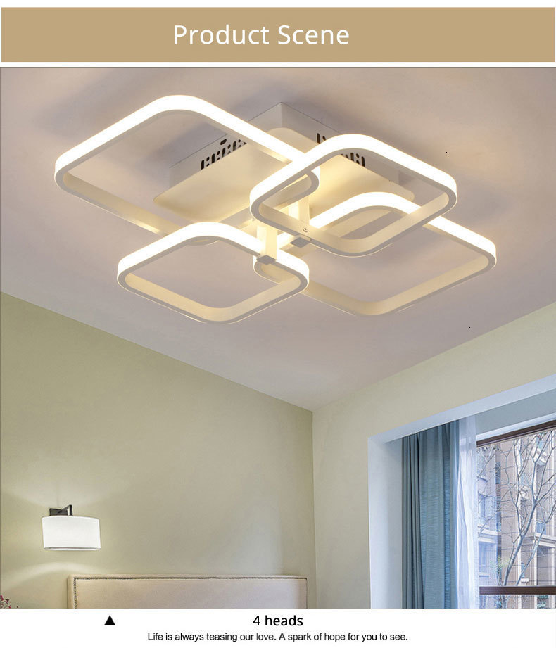 Hfd53f22349ad46cd81792240dee06388M Acylic Ceiling Lights Square Rings For Living Room Bedroom Home AC85-265V Modern Led Ceiling Lamp Fixtures lustre plafonnier