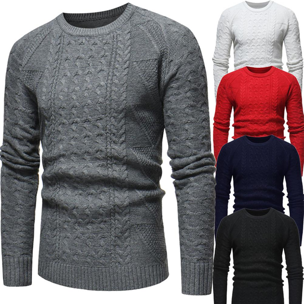 GloryStar Men Clothes Knit Wool Sweater Braided Crew Neck Solid Slim Casual Pullover Pull Homme Christmas Sweaters Ropa Navidad