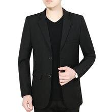 Темно синий черный Блейзер Мужской приталенный шерстяной пиджак