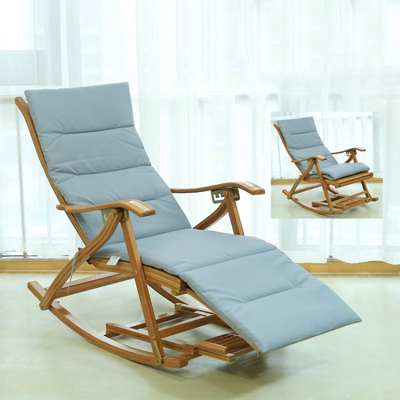 Bamboo Recliner Folding Rocking Chair Balcony Home Leisure Chair Lazy Sunbathing Old Man Backrest Leisurely Chair