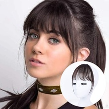 Bangs-Fringe Hairpiece-Bangs Hair-Clip-Extension Human-Hair with Temples for Women Wispy