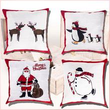 4Pcs Pillow Covers Print Snowman Christmas Deer Santa Claus Merry Decorative  Throw Case