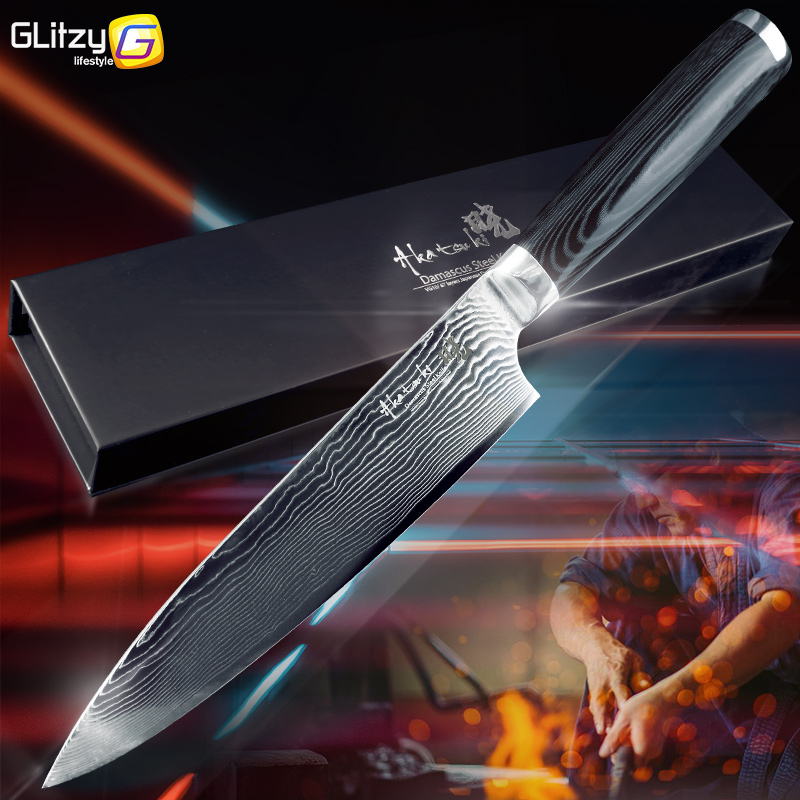 Damascus Kitchen Knife 8 Inch 67 Layers VG10 Chef Knife Japanese Damascus Steel Gyuto Meat Santoku Cleaver Micarta Wood Handle