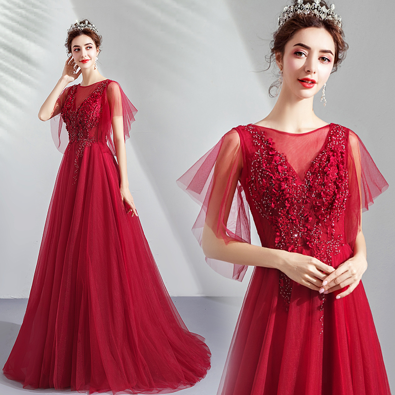 Red 3D Flowers Appliqued Sequins Illusion Neck   Prom     Dresses   2020 A Line Fashion Short Sleeves Formal Evening Gowns Vestidos