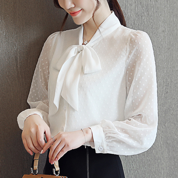 Korean  Chiffon Women Blouses Shirts Women White Shirt Tops Plus Size Woman Bow Long Sleeve Blouse Top Blusas Femininas Elegante plus size chiffon long sleeve layering top
