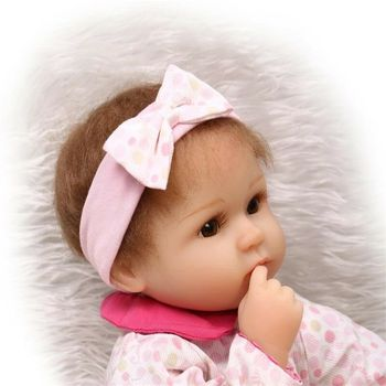 Reborn Baby Girl Doll 17 Handmade Realistic Silicone Lifelike Newborn Toy Gift