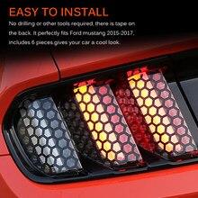 Onever 6 sztuk/zestaw naklejki samochodowe Taillight naklejki samochodowe o strukturze plastra miodu dla Ford Mustang akcesoria samochodowe ogon dekoracja świetlna naklejki