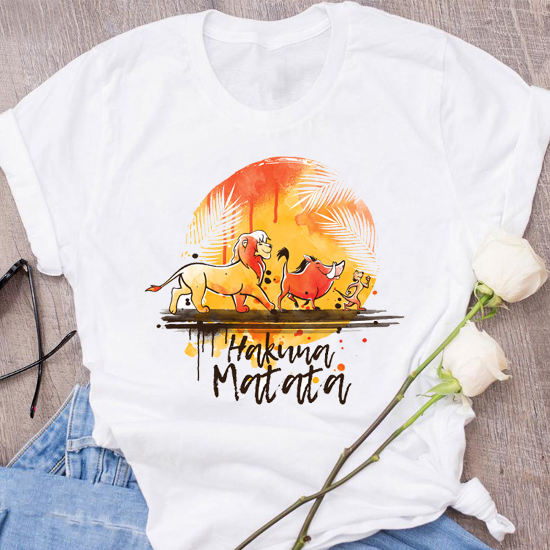 New Summer Fashion <font><b>Hakuna</b></font> <font><b>Matata</b></font> Ullzang <font><b>Lion</b></font> <font><b>King</b></font> Women's Short Sleeve Tops T Shirts Tees Plus Size T-shirt image