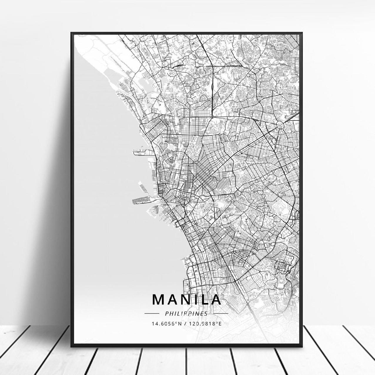 Manila Philippines Asia Skyline B/&W CANVAS WALL ART Picture Print Single