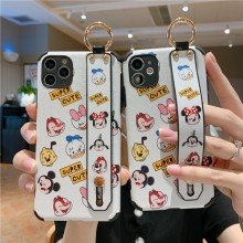 Cute 3D Cartoon Relief Silk case Wrist strap bracket for huawei nova 7se 6 honor v30pro 30s 20 10 9x 8x p40 p30 p20 mate 30 capa(China)