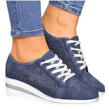 Женские повседневные кроссовки из флока на высоком каблуке дышащие
