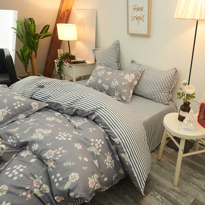 Quilt Cover Pillowcase Bed-Sheet Bed Linen Flowers American-Style Gray with 3/4pcs/set