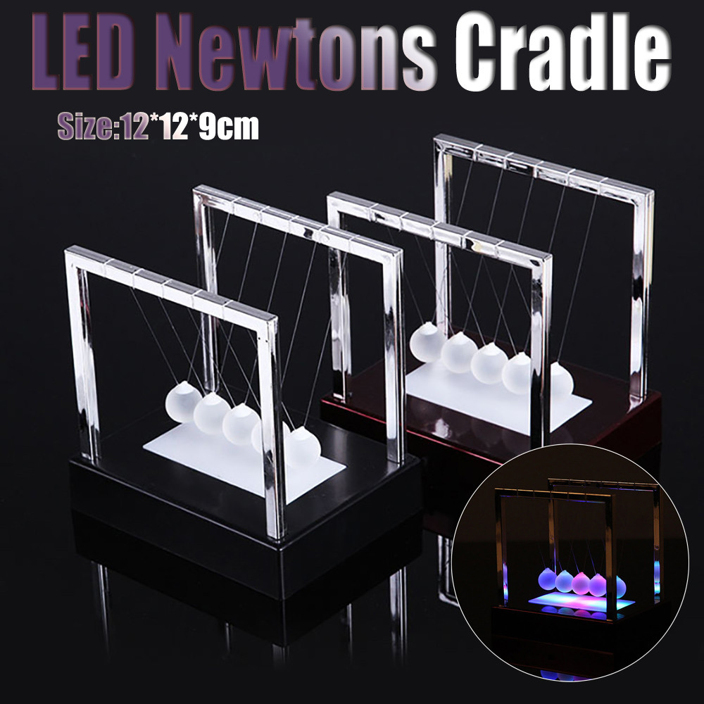 Early Fun Development Educational Desk Toy Gift Newtons LED  Cradle Steel Balance Ball Physics Science Pendulum @A