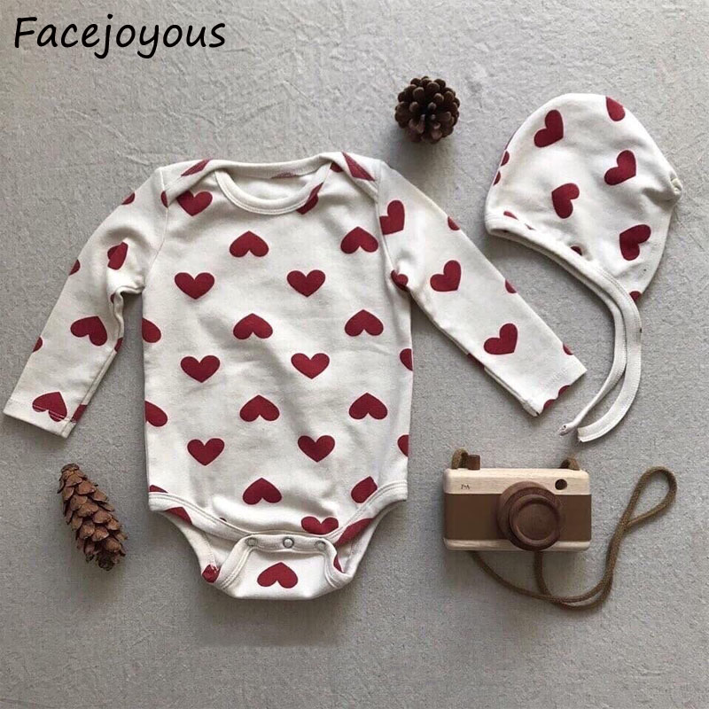 Summer Twins Children Love Heart Clothes Baby Girl Cotton Bodysuit + Hats 2pcs Newborn Baby Bodysuits Kids Girls Outfits