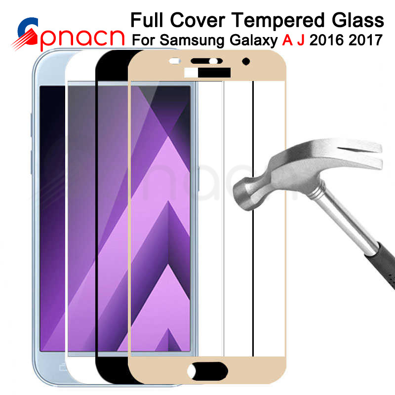 9D Full Cover Protective Glass on the For <font><b>Samsung</b></font> Galaxy <font><b>A3</b></font> A5 A7 J3 J5 J7 2016 2017 S7 Tempered <font><b>Screen</b></font> <font><b>Protector</b></font> Glass Film image