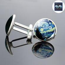 Ван Гог серебряные запонки Звездная ночь ручной работы масляной