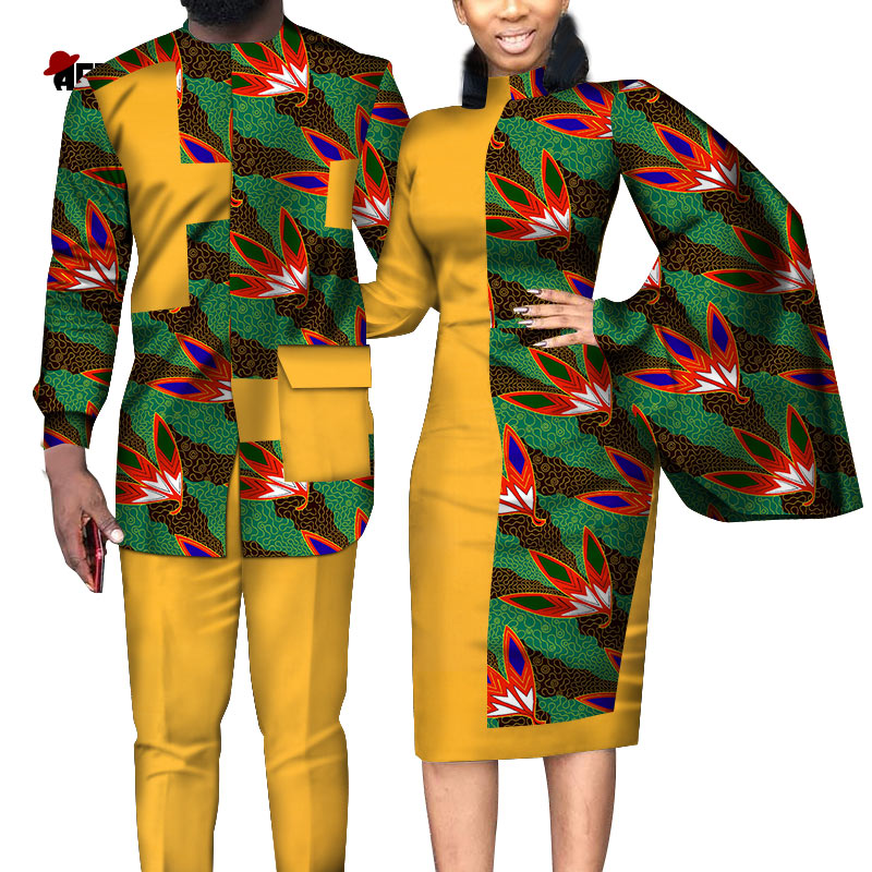 2020  African Dresses For Women African Dresses For Couples Shirt And Pants Sets Lover Couples Clothes Print Long Dress Wyq312