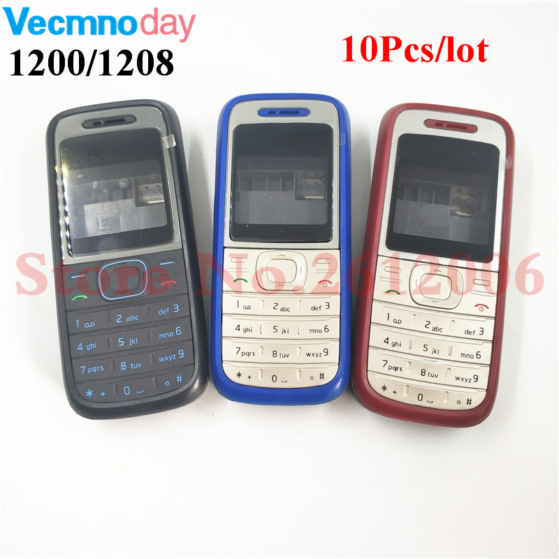 10Pcs/lot High Quality Original Cover For <font><b>Nokia</b></font> 1200 <font><b>1208</b></font> Full Complete Mobile Phone <font><b>Housing</b></font> Cover Case English Keypad image