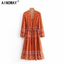 Vintage chic Boho kadınlar çiçek baskı püskül ruffles kollu plaj Bohemian maxi elbise bayanlar V boyun mutluluk elbise vestidos