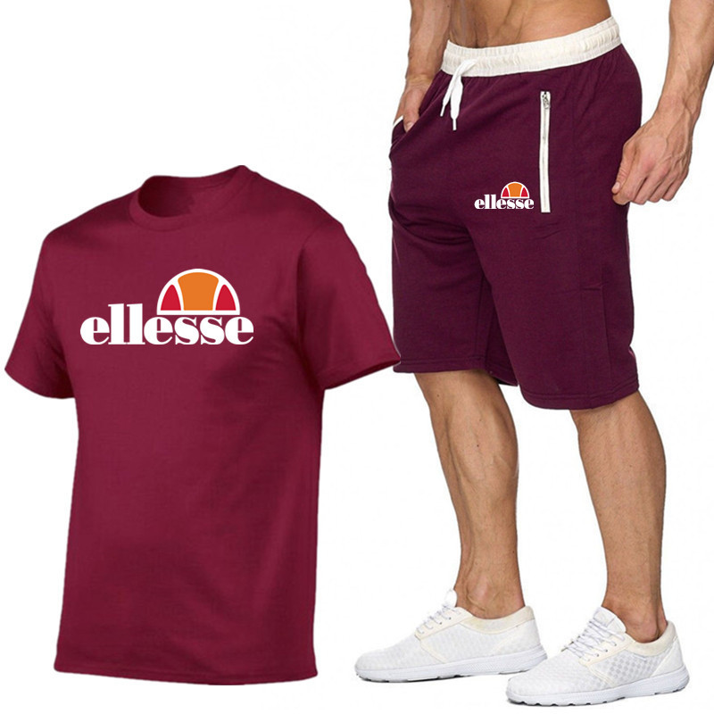 Hot Selling MEN'S Short-sleeved T-shirt Casual Sports Jackets Pants Fitness Pants Short Shorts + T-shirt Set