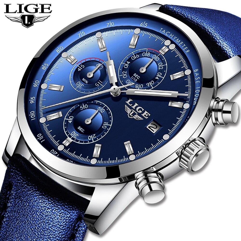 2019 LIGE nouvelle mode hommes montres analogique Quartz montres 30M étanche chronographe sport Date en cuir montres Montre Homme