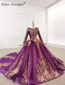 Image 3 - Purple Long Sleeves Ball Gowns Evening Dresses 2020 for Women Wear Colorful Lace Crystals Vintage Muslim Engagement Event Formal