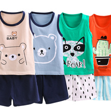 Baby Girls Clothes Kids Pajamas Sets Cartoon Vest+Shorts Home Set Boys Sleep Pyjamas Pijamas Infantil