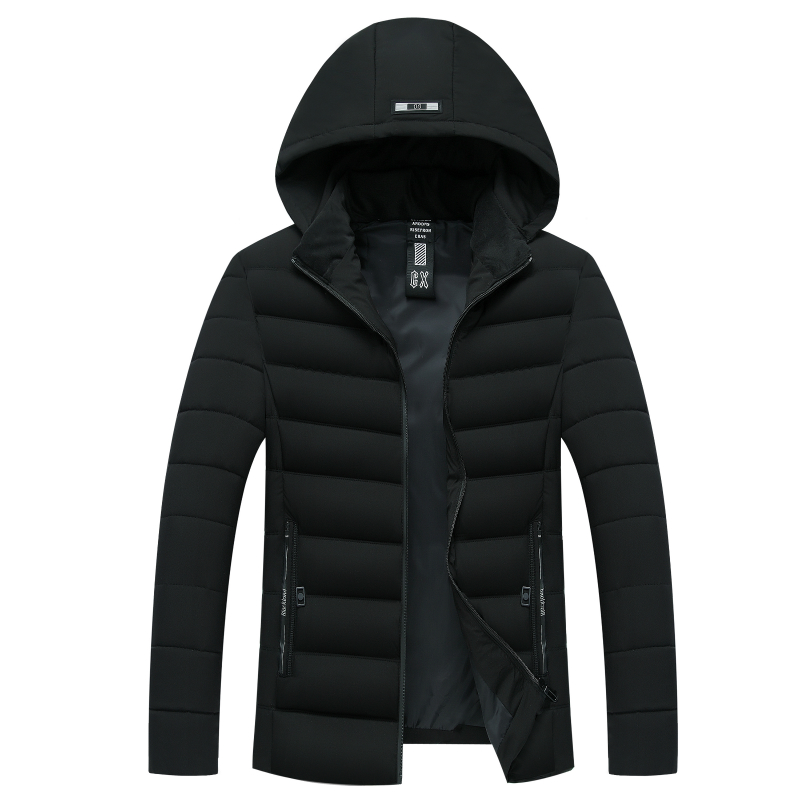 2019 New Hooded Cotton-padded Clothes Fit Slim Thickened Warm Men's Cotton-padded Clothes Male Jacket   Parka   Casual Plus Size