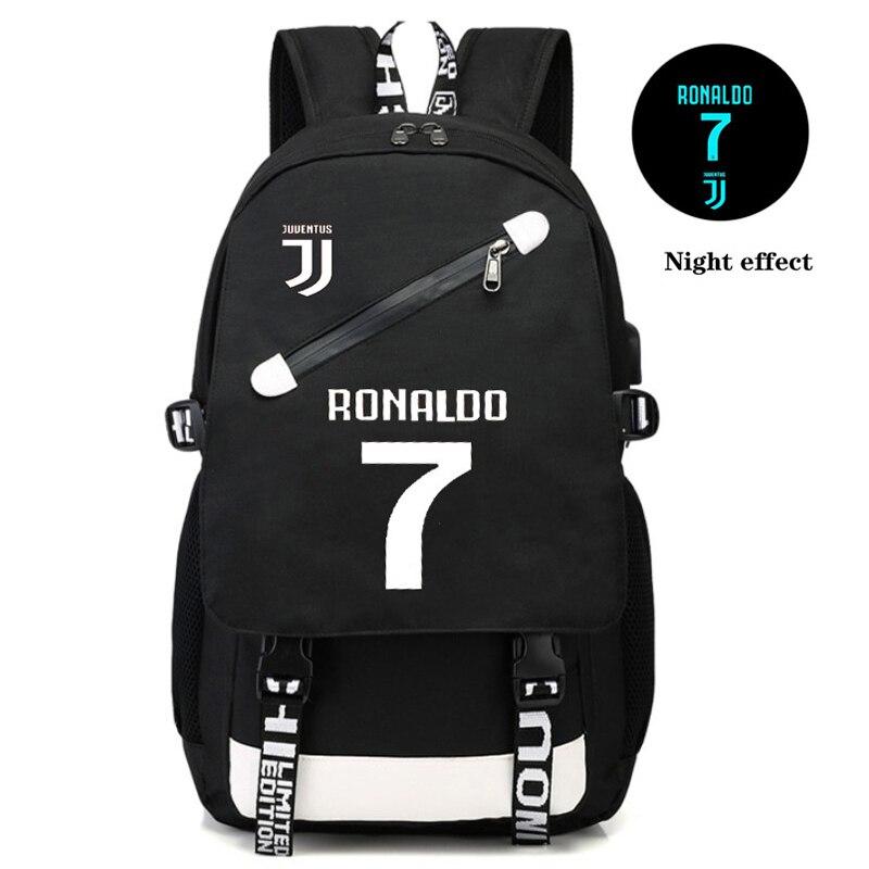 Zaino Usb Luminoso Ronaldo Da Scuola Per i ragazzi Adolescenti Calcio