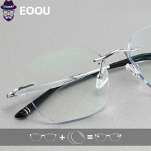Titanium Men Rimless glasses Photochromic Optical Glasses Prescription Anti blue light Oculos Multifocal Lens Frame