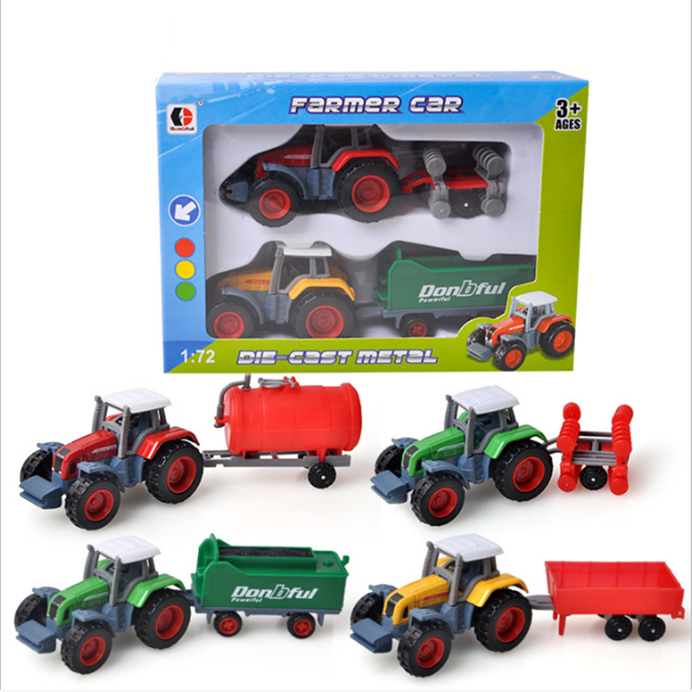 Alloy Engineering Car  Farmer Truck Model Simulation Educational Toy Vehicle Car For Kids 3 Combination Suits Set - Color Random