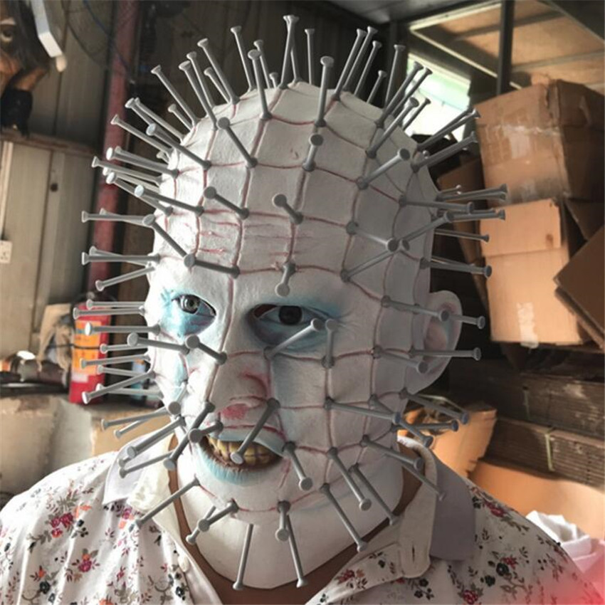 Movie The Hellraiser Mask Horror Cosplay Costume Props Halloween Mask Full Face Adult Nail Maskmask horrormask fullmask full face -
