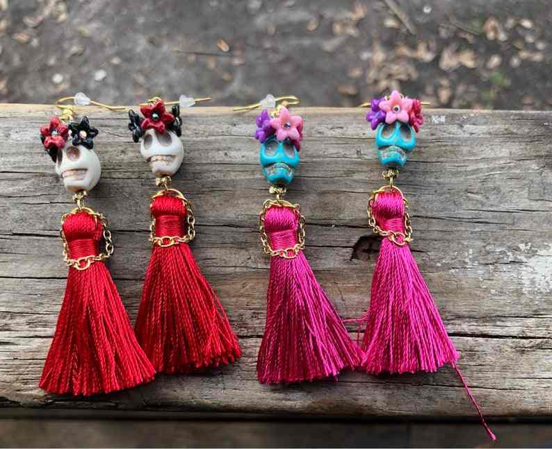 Skull Earrings with A Little Flower Crown A Little Dress and Little Hands Made of Metal Chain, Day of The Dead,Tassel Earrings