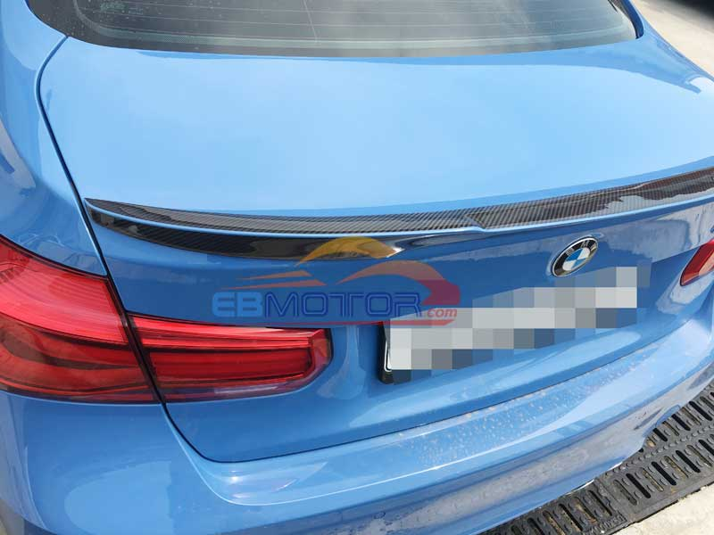 Real Carbon Fiber V Style Trunk LIP Spoiler For BMW 3-Series F30 F80 M3 4D Sedan 2012UP B244 image
