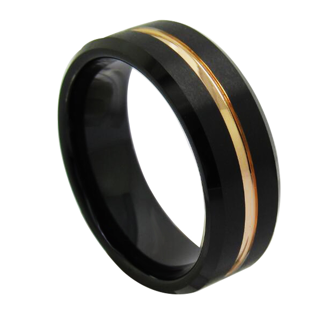 New Arrival Mens 8mm Width Black Tungsten Carbide Rings Rose Gold Plated Intermediate Groove Wedding Band Comfort Fit Size 6-13
