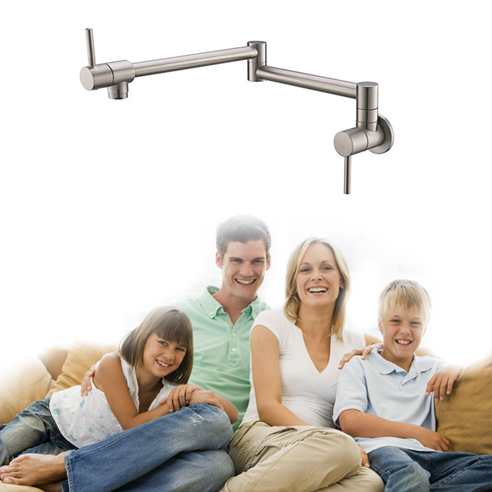 Durable 360 degrés pratique poli mural monté maison pliant Double interrupteur robinets robinet en laiton rotatif cuisine évier