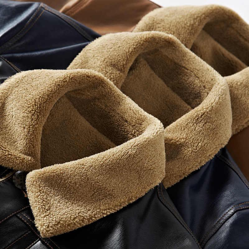 2019 осенне-зимнее Новое мужское толстое кожаное пальто с лацканами, Модное теплое пальто с длинным разрезом, кожаная куртка большого размера