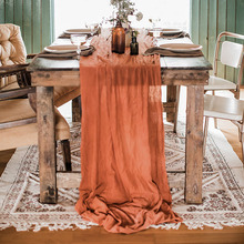 Home Decor Gift Rust 100% Cotton Table Runner For 4 People Wedding Table Decoration Guaze Napkins And Runners 25inch x10ft
