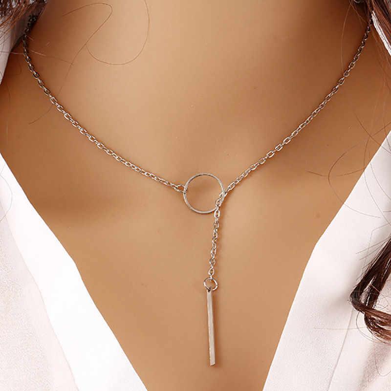 Moda elegante estilo deusa biquini metal clavícula corrente simples cor de ouro círculo curto colar festa pingente