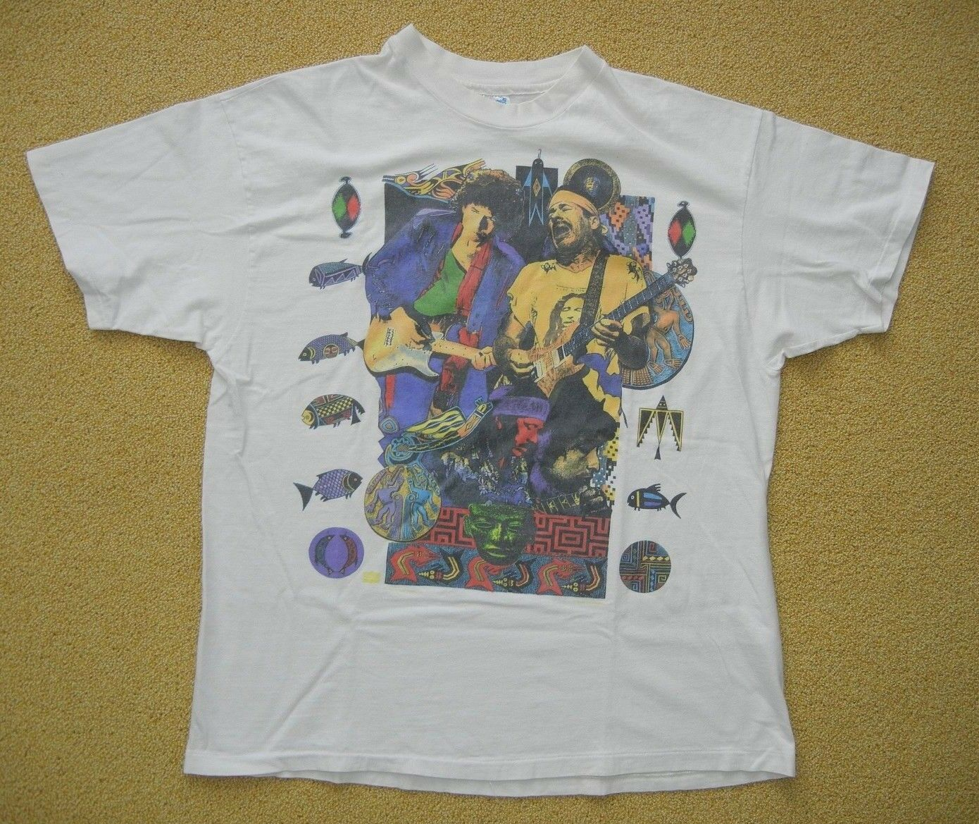 Vtg 90s 1993 BOB DYLAN CARLOS SANTANA Music Album Tour CONCERT T-SHIRT Size XL Summer Short Sleeves Cotton Fashion image