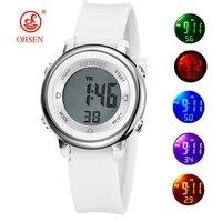 OHSEN-relojes deportivos para niños y niñas, pulsera electrónica de silicona resistente al agua hasta 50M, con cronómetro Digital LED