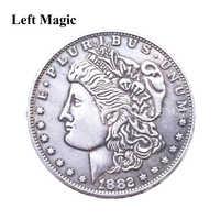 1PC Magnetic Copper Morgan Coins Magic Tricks Magician Close Up Street Gimmick Props Illusion Accessories Funny