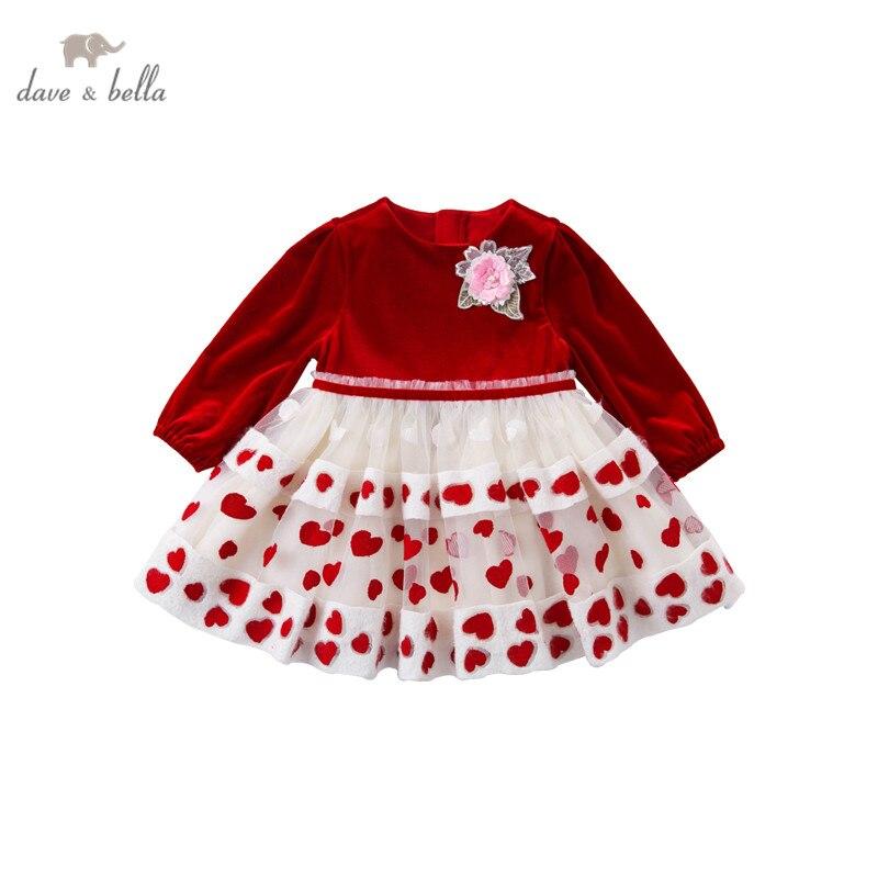 Dave bella платье для девочек DB15671, с цветочной аппликацией, модное вечернее платье для младенцев|Платья| | АлиЭкспресс