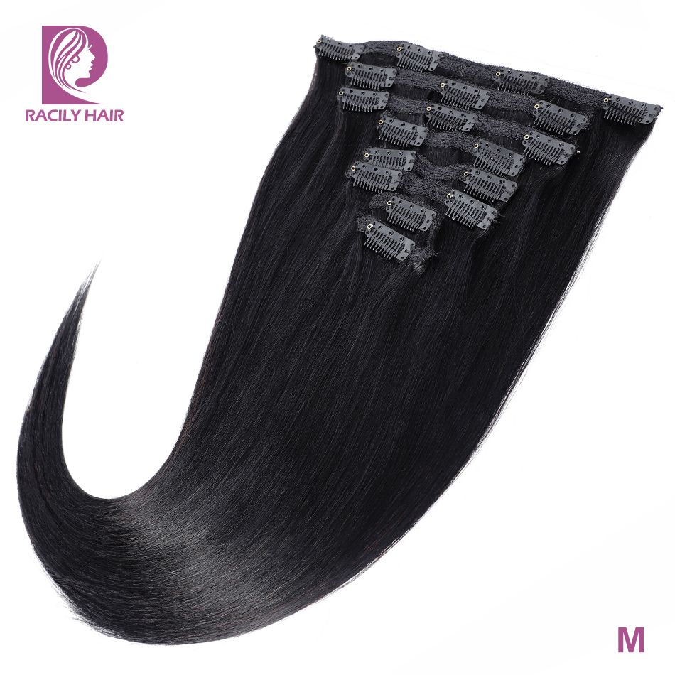 Racily Hair Straight Clip In Human Hair Extensions 8 Pcs/Set Remy Brazilian Clip Ins Hair 120 Gram Natural Color 10-26 Inches