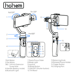 Image 4 - Hohem Smartphone Gimbal iSteady נייד בתוספת 3 ציר כף יד מייצב עבור iPhone 11X8 7 6 & Huawei & Xiaomi Smartphone